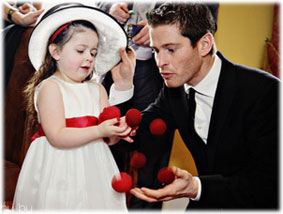 Paul Lytton with girl at wedding